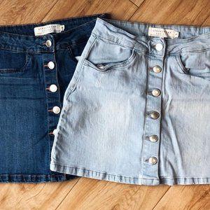 2 Button Up Denim Skirts